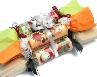 Colourful Handmade Hand Rolled Christmas Crackers Table Decoration