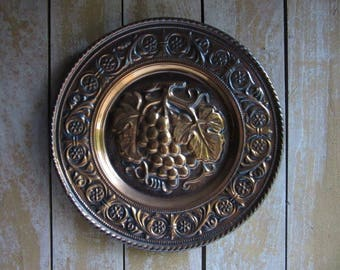 """Kitschy Vintage Coppercraft/Napco Copper Wall Hanging Plate with Grapes, 12"""" Retro Wall Platter, 1960's 1970's Tacky Den Decor, Living Room"""