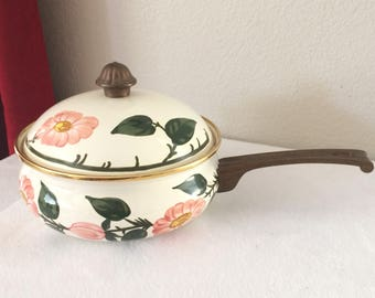 Vintage VILLEROY & BOCH Metal Cookware Pan and Lid Floral Made In Germany