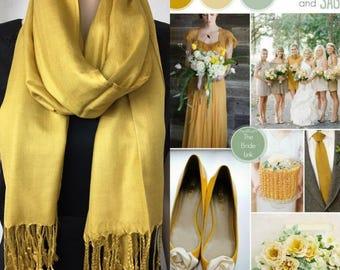 Gold/ dark yellow pashmina scarf shawl /wedding shawl/fall scarf / bridesmaid shawl / wedding favor / spring summer wedding /