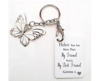 Personalised Friendship Butterfly Keyring