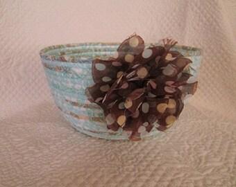 Coiled Rope Basket, Clothesline Bowl, Fiber Art Bowl / B104