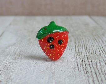 Strawberry - Fruit - Summer - Red - Festival - Lapel Pin