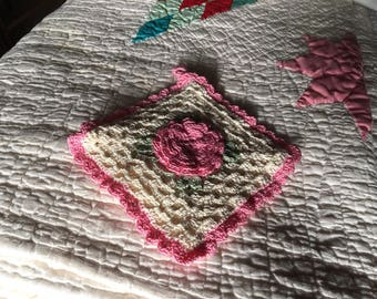 Old Fashioned Crocheted Potholder With Pink Rose in Center