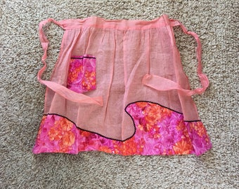 Vintage Pink and Rose Colored Sheer Half Apron