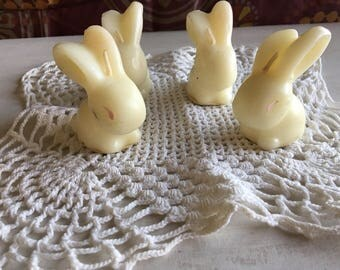 4 Vintage White Bunny Wax Tavern Candles