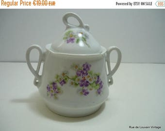 50% OFF Victorian sugar bowl with violets, large 19th century sugar bowl with flowers, antique sugar bowl