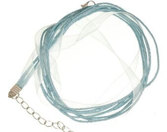 1 neck organza and cotton turquoise light 42cm