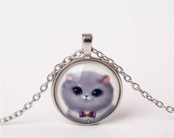 X 1 grey cat necklace and a 25mm purple bow