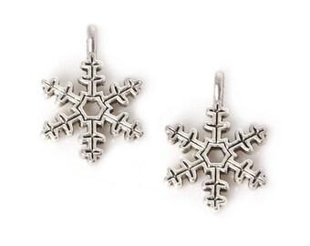 Silver snowflake 2 X 21mm Tibetan