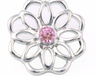 Metal rhinestone flower snap button 18mm