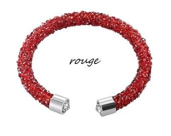 Open bracelet red rhinestone
