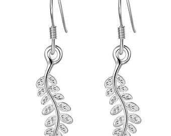 925 silver plated leaf earrings