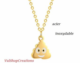 Little poop plated stainless steel necklace