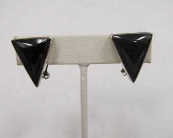 Vintage Sterling Silver Taxco Mexico Bezel Set Geometric Earrings W #785