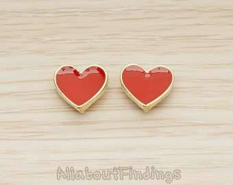 ERG399-01-G-RE // Glossy Gold Plated Red Epoxy Painted Simple Heart Earpost, 2 Pc