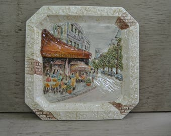 FRENCH BISTRO PLATE Raised Ceramic Decorative Display Plate Wall Art Neutral Colors