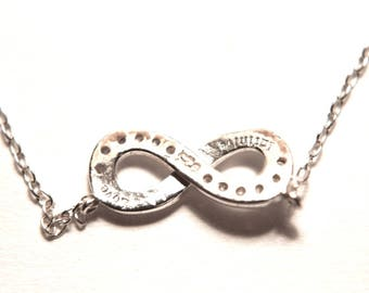 "Sterling Silver Infinity Love Necklace with 18"" Length Chain Lovely Jewelry"