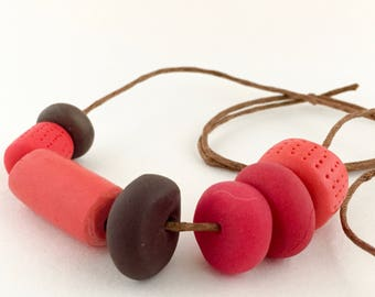 """Red & Brown Polymer Clay Necklace """"Red Love"""""""