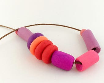 """Bright Polymer Clay Necklace """"Neon Zoo"""""""