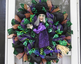 Animated Witch Deco Mesh Wreath