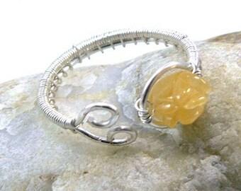 Bague ajustable Kronos - cuivre plaqué argent et citrine