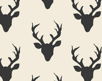Art Gallery Fabrics - Buck Forest Night - Hello Bear - Deer - Buck - Fabric - Cotton - Black - White