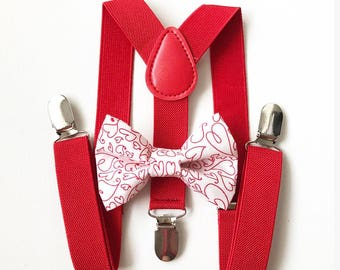 FREE DOMESTIC SHIPPING! Red suspenders Valentines day hearts Bow Tie toddler boy wedding pictures birthday holiday photos Christmas pictures