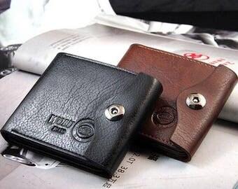 Casual Men's Wallet Magnetic Clasp Faux Leather  Vegan Bifold Card Holder Pockets Slim Purse - Choose Color