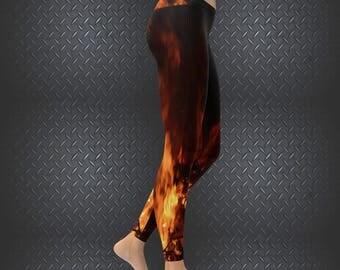 Flame Leggings Womens All Over Flame Print Leggings
