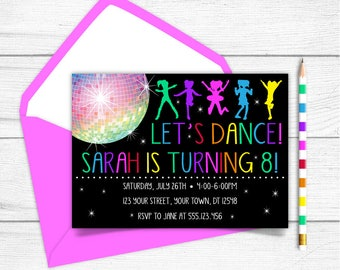 Any Age Printable Disco Ball Let's Dance Girls 7th 8th 9th 10th Birthday Invitation, Glow In The Dark Disco Ball Party Invitation