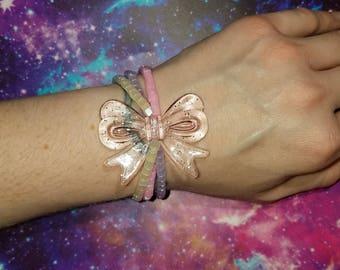 Pastel Layered Bow Beaded Stretch Bracelet Decora Harajuku Kawaii Lolita Alternative Fashion Cute Pastel Goth
