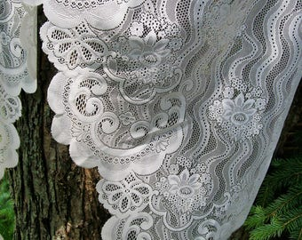 Vintage Set of 8 LACE VALANCE/SWAG Curved Panels Floral Off White 38x63 Sears Polyester