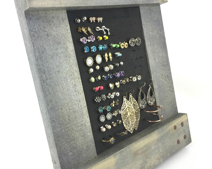Rustic Earring Organizer - Gray Frame - Earring Holder - 5x7 Size