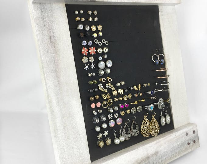 White Rustic Earring Organizer - Rustic Frame - Earring Holder - 8x10 Size