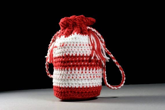 Wristlet, Handbag, Mini Tote, Drawstring Bag, Boho Bag, Hippie Bag, Red and White, Handmade, Crochet, Valentines Gift