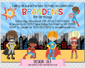 Superhero Boys Super, Bat, Spider, Flash Boy:Design #263-Children's Birthday Invitation, Personalized, Digital, Printable, 4x6 or 5x7 JPG