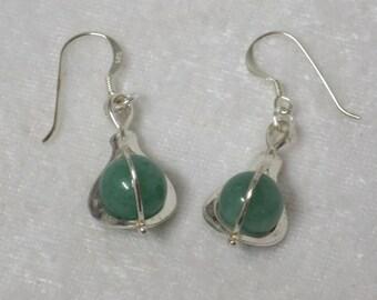 New Jade sphere sterling silver earrings CCS165