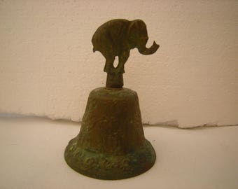 vtge bell-elephant bell-brass bell-shelf decor-display-bell collection-rich patina-
