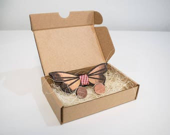 Pink Butterfly Wooden Bow Tie and Cufflinks Gift Set/Custom engrave/Personalised gift for Him/Her/Handmade/Birch Plywood/Unique Gift set