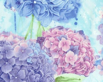 Pink, Blue, Lilac, Lavender Large Hydrangeas, TimelessTreasures, Harmony, Chong-a-Hwang (By 1/2 yd)