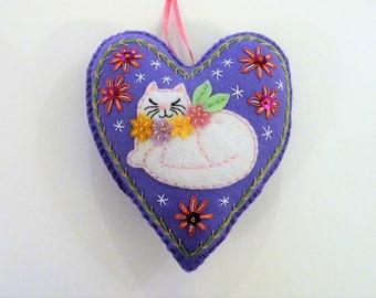 Cat Ornament, Felt Heart Ornament, Felt Cat, Doorknob Hanger, Doorknob Pillow, Gift for Cat Lover, Napping Cat, Cat Decor, Kitty Ornament