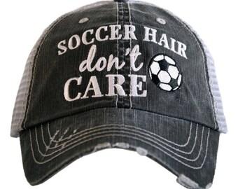 Soccer Hair Don't Care Hat ~ Soccer ~ Soccer Trucker Hat ~ Soccer Hat ~ Soccer Mom Hat ~ Women's Hat ~ Soccer Cap