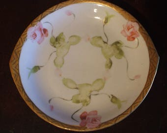 Vintage Nippon Hand Painted Tab-Handled plate/bowl - Gold Trimmed with Pink Roses