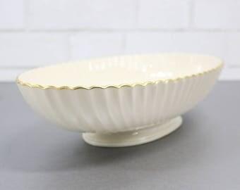 Lenox China Serving Platter, Oval Porcelain Platter, 24K Gold, Cream Serving Dish With Gold Rim, Elegant Serving Plate, Vintage Dinnerware