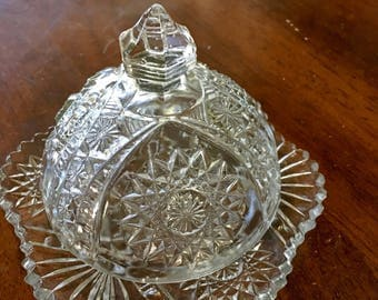Vintage Sawtooth Single Dome Butter Dish