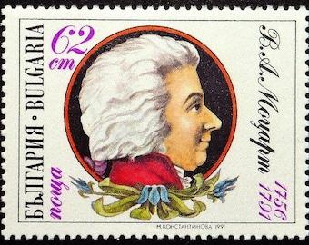 Wolfgang Amadeus Mozart 1756-1791, Music -Handmade Framed Postage Stamp Art 22260AM