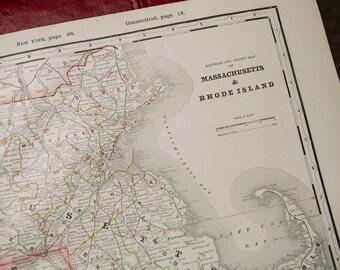 Antique 1893 Crams Railroad Map of Massachusetts & Rhode Island