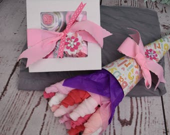 Baby Girl Gift Set Unique Baby Gift New Baby Shower Gift Set Washcloth Bouquet Onesie Cupcakes Receiving Blanket Cupcakes Washcloth Flowers