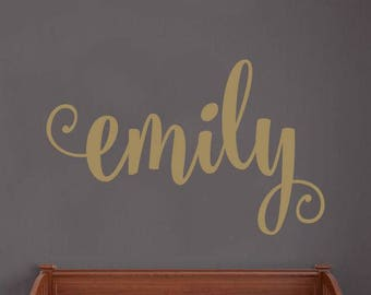 Name Wall Decal Personalized Name Decor Girls Nursery Decal Fairy Tale Style Name Decal Girls Bedroom Decor Gold Copper Name Lettering